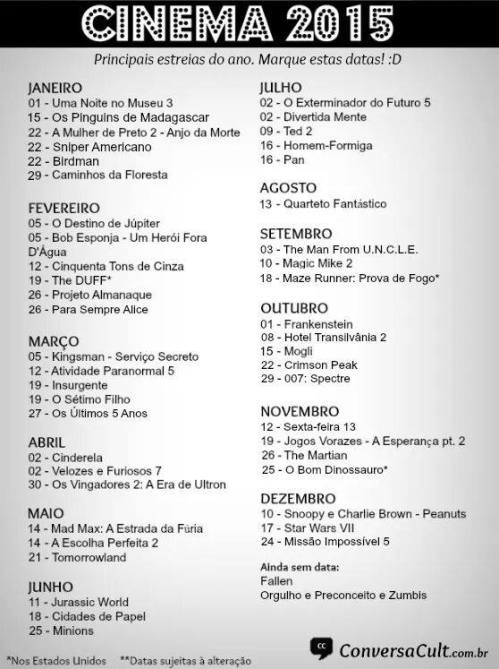 cinema 2015 - datas