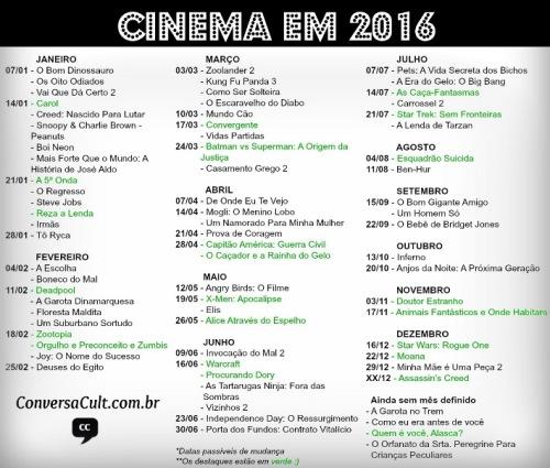 Calendário Cinema 2016